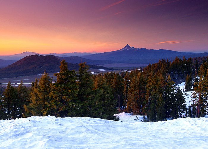Oregon Greeting Card featuring the photograph Central Oregon Cascades From Crater Lake by Steve Warnstaff