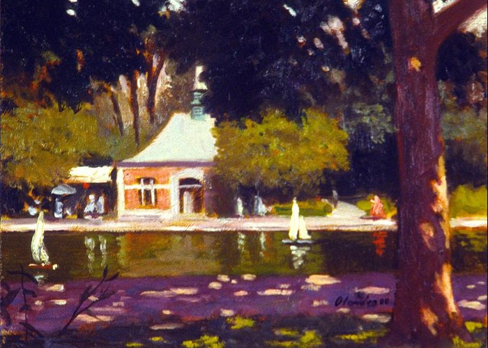 Landscape Central Park Nyc Greeting Card featuring the painting Central Park Boathouse Impression by David Olander