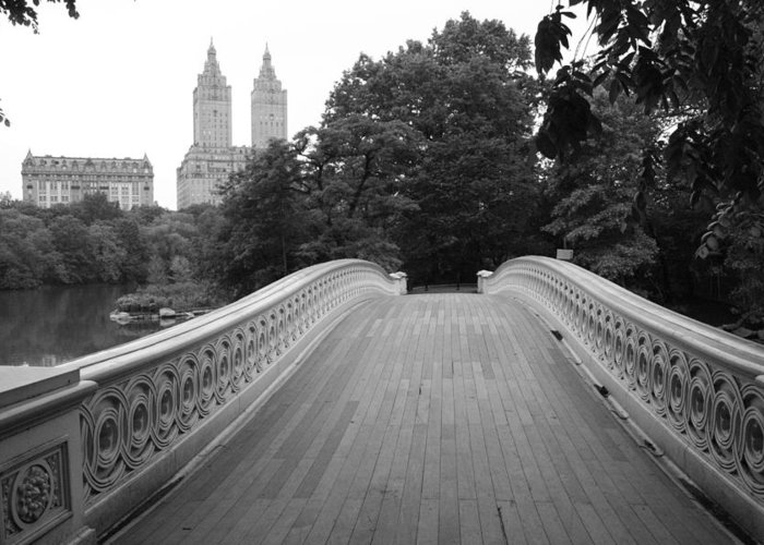New York City Greeting Card featuring the photograph Central Park Bow Bridge With The San Remo by Christopher Kirby