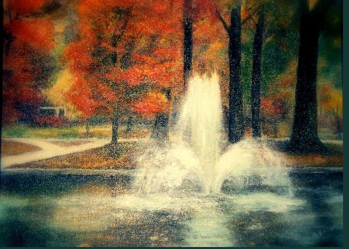Pond Greeting Card featuring the painting Central Park In Autumn by Gail Kirtz
