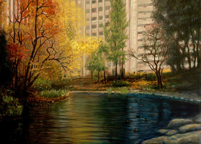New York Greeting Card featuring the painting Central Park by Lance Anderson