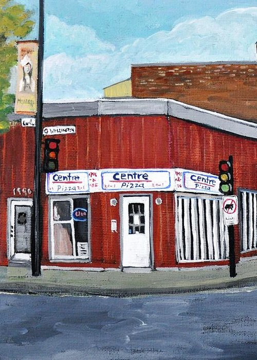 Verdun Greeting Card featuring the painting Centre Pizza Verdun by Reb Frost