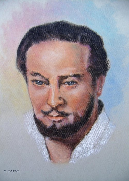 Drawing Greeting Card featuring the pastel Cephas by Charles Yates