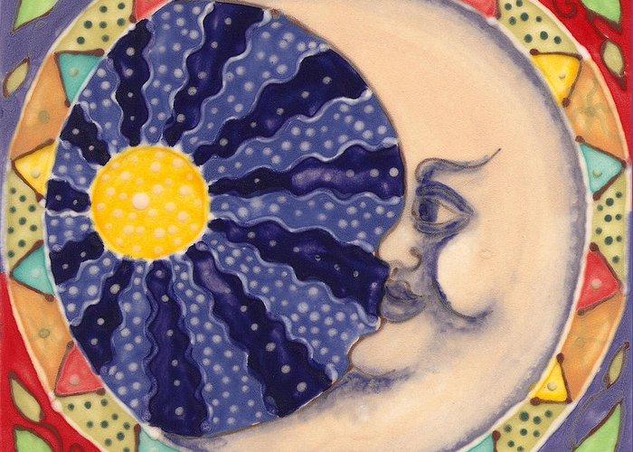 Moon Greeting Card featuring the painting Ceramic Moon by Anna Skaradzinska