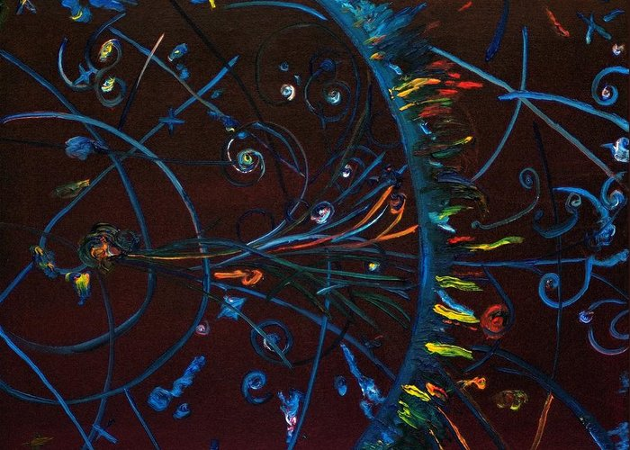 Cern Greeting Card featuring the painting Cern Atomic Collision Physics And Colliding Particles by Gregory Allen Page