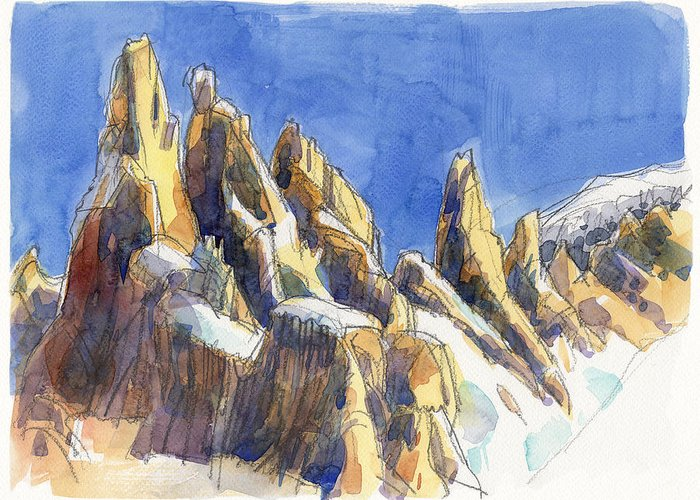 Landscape Greeting Card featuring the painting Cerro Torre, Patagonia by Judith Kunzle