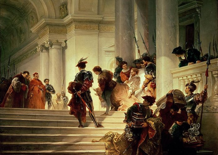 Cesare Greeting Card featuring the painting Cesare Borgia Leaving The Vatican by Giuseppe Lorenzo Gatteri