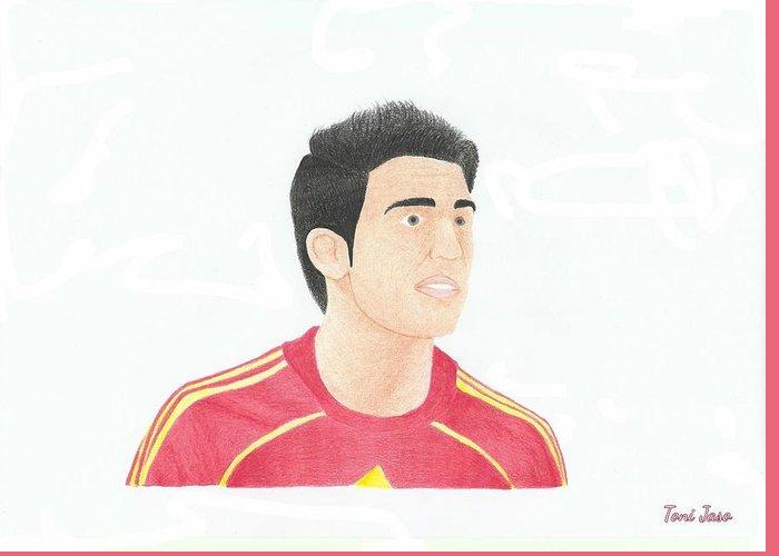 Cesc Fabregas Greeting Card featuring the drawing Cesc Fabregas by Toni Jaso