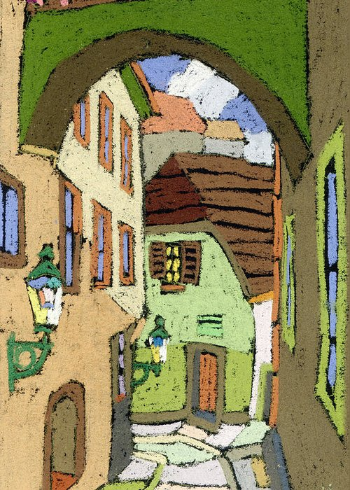 Pastel Greeting Card featuring the painting Cesky Krumlov Masna Street by Yuriy Shevchuk