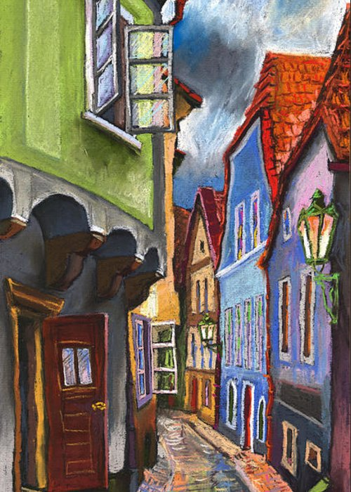 Pastel Chesky Krumlov Old Street Architectur Greeting Card featuring the painting Cesky Krumlov Old Street 1 by Yuriy Shevchuk