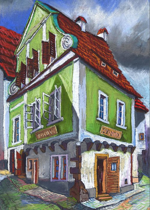 Pastel Chesky Krumlov Old Street Cityscape Realism Architectur Greeting Card featuring the painting Cesky Krumlov Old Street 3 by Yuriy Shevchuk