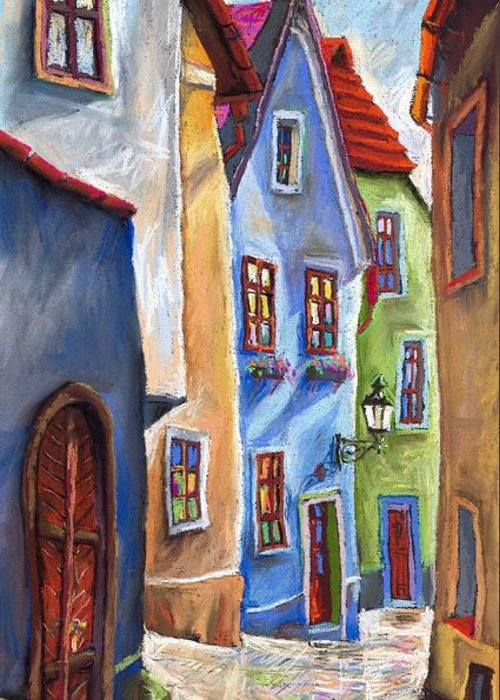 Cityscape Greeting Card featuring the painting Cesky Krumlov Old Street by Yuriy Shevchuk