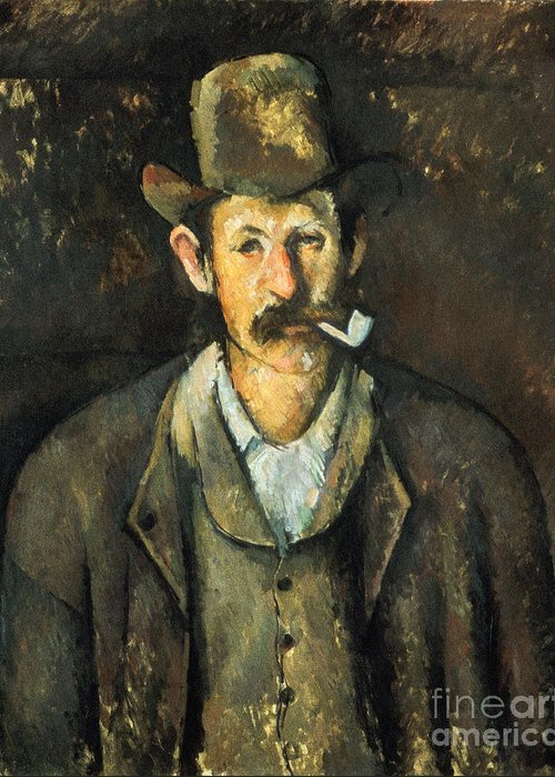 1892 Greeting Card featuring the photograph Cezanne: Pipe Smoker, C1892 by Granger