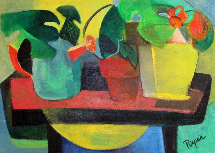 Potting Stand Greeting Card featuring the painting Cezanne Potting Stand by Betty Pieper