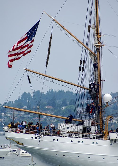 Tall Ships Greeting Card featuring the photograph Cgc Eagle by Sonja Anderson