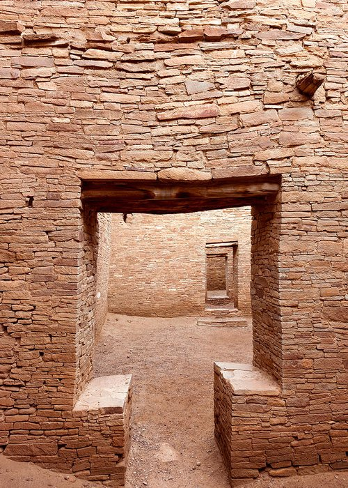 Pueblo Bonito Greeting Card featuring the photograph Chaco Canyon Doorways 2 by Carl Amoth