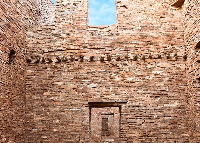Pueblo Bonito Greeting Card featuring the photograph Chaco Canyon Doorways 4 by Carl Amoth