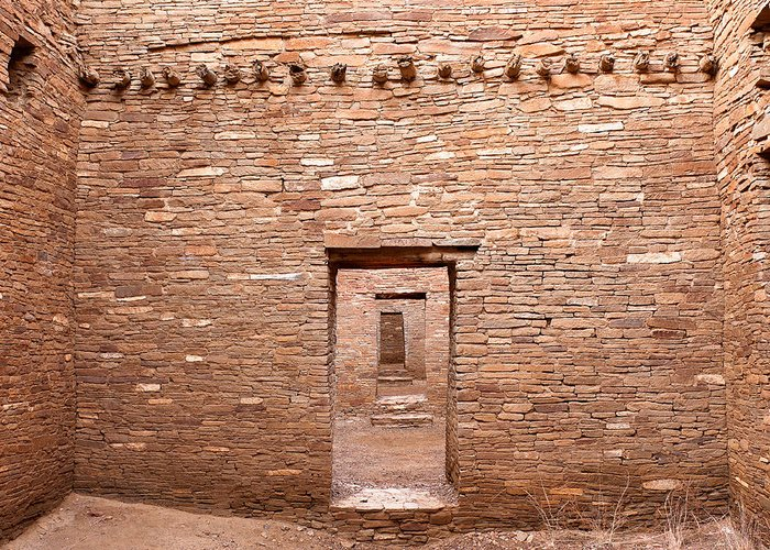 Pueblo Bonito Greeting Card featuring the photograph Chaco Canyon Doorways 5 by Carl Amoth