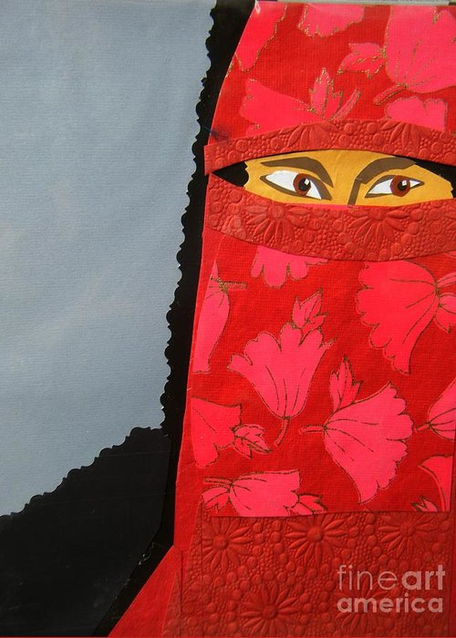 Woman Greeting Card featuring the mixed media Chador by Debra Bretton Robinson