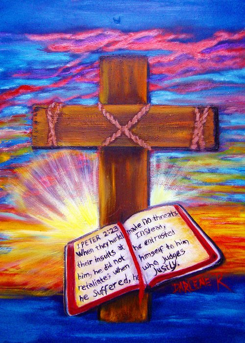 Cross Greeting Card featuring the painting Chads Cross by Darlene Green