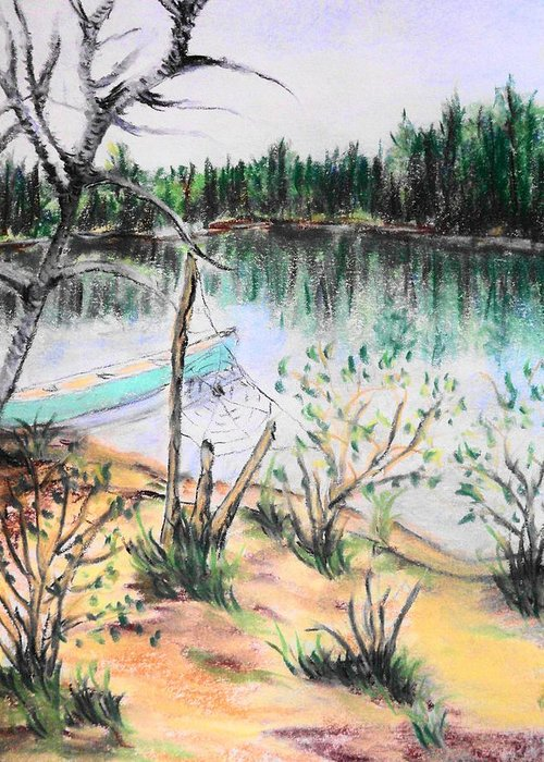 Landscape Greeting Card featuring the pastel Chain Lakes Duck Mountain Mb by Janice Robertson