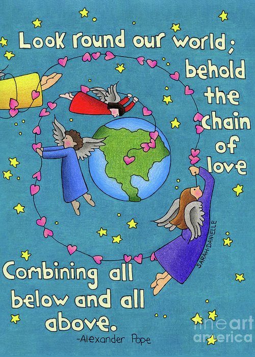 Angels Greeting Card featuring the drawing Chain Of Love by Sarah Batalka