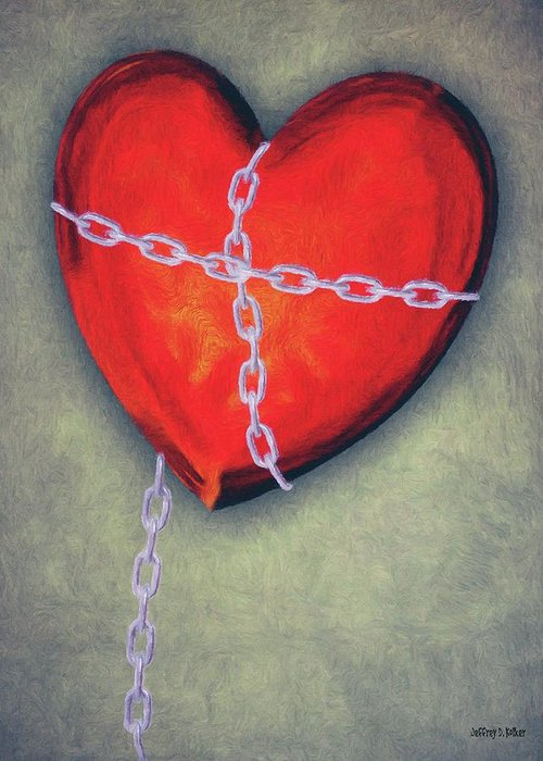 Heart Greeting Card featuring the painting Chained Heart by Jeff Kolker