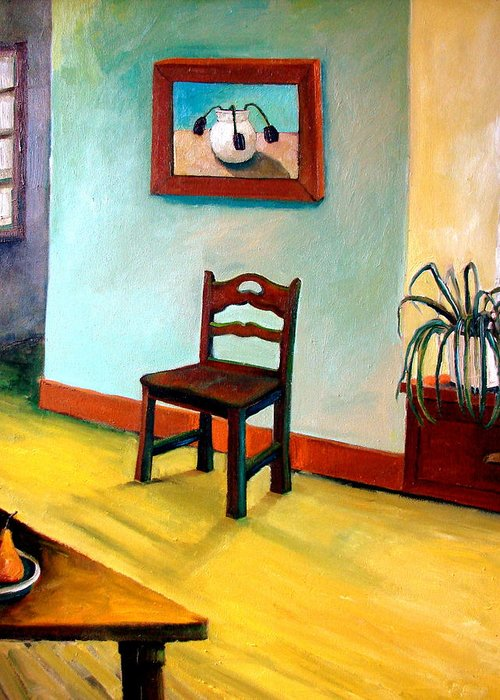Apartment Greeting Card featuring the painting Chair And Pears Interior by Michelle Calkins