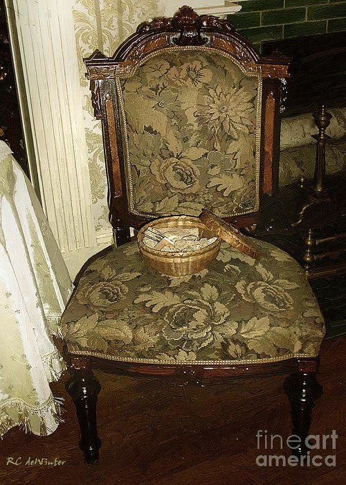 Antiques Greeting Card featuring the painting Chair By The Hearth by RC DeWinter