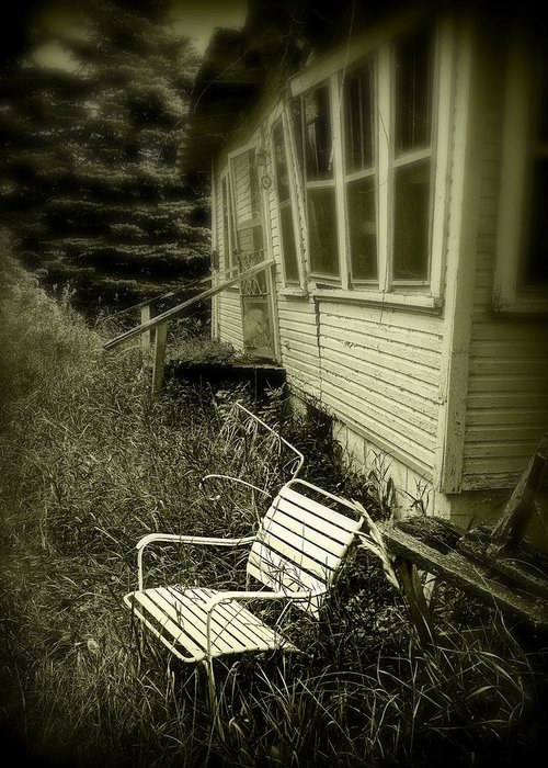 Chair Greeting Card featuring the photograph Chair In Grass by Perry Webster
