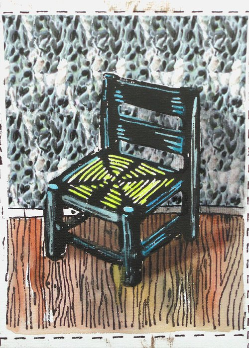 Chair Greeting Card featuring the mixed media Chair Ix by Peter Allan