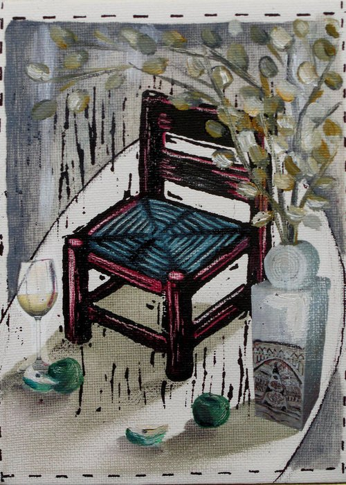 Chair Greeting Card featuring the mixed media Chair X by Peter Allan
