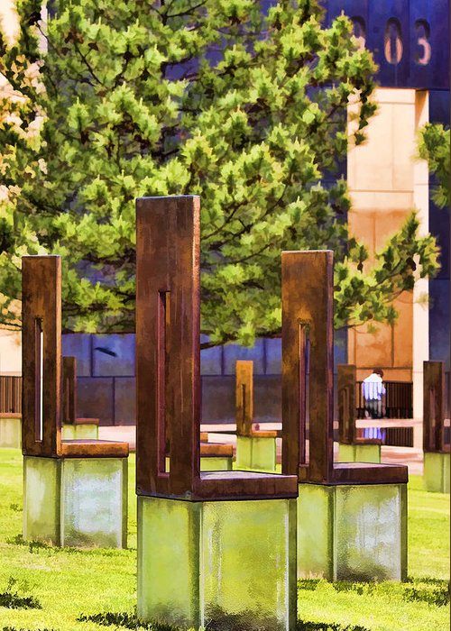 Oklahoma Greeting Card featuring the photograph Chairs At The Gate by Ricky Barnard