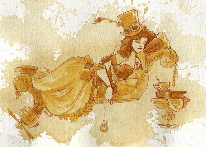 Steampunk Greeting Card featuring the painting Chaise by Brian Kesinger