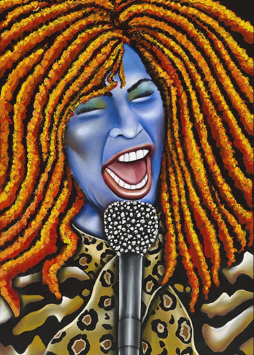 Portrait Greeting Card featuring the painting Chaka by Nannette Harris