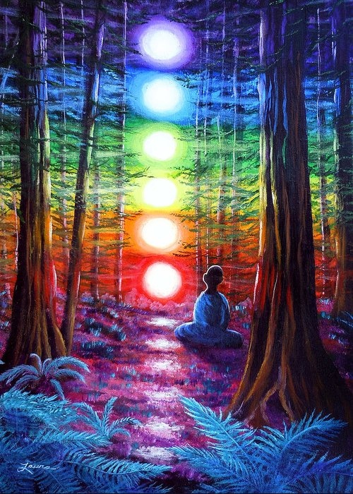 Zen Greeting Card featuring the painting Chakra Meditation In The Redwoods by Laura Iverson