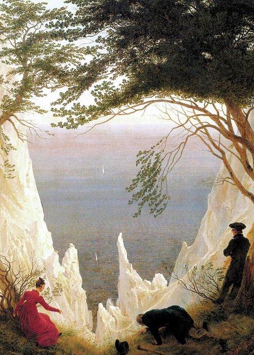 Caspar David Friedrich Greeting Card featuring the digital art Chalk Cliffs by Mark Carlson