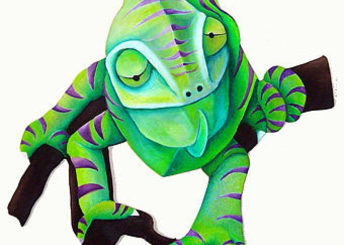 Animal Greeting Card featuring the painting Chameleon by Susan Clausen