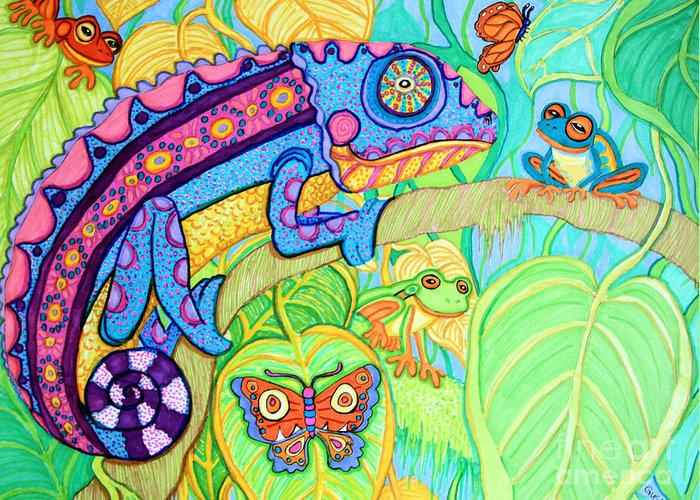 Chamelion Greeting Card featuring the drawing Chamelion And Rainforest Frogs by Nick Gustafson