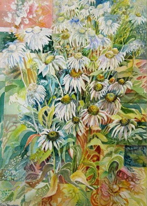 Art Greeting Card featuring the painting Chamomile by Therese AbouNader
