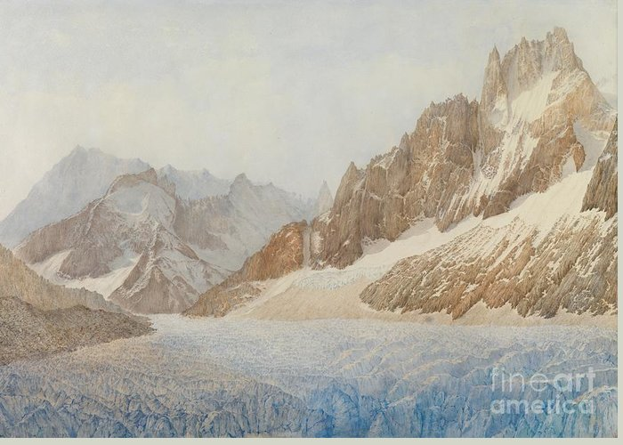 The Mer De Glace Greeting Card featuring the painting Chamonix by SIL Severn
