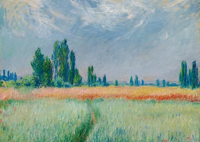 Claude Monet Greeting Card featuring the painting Champ De Ble by Claude Monet