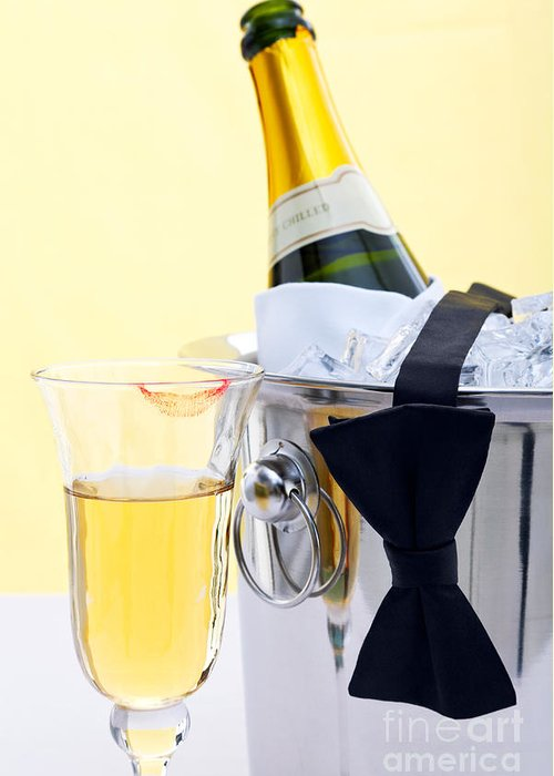 Champagne Greeting Card featuring the photograph Champagne Black Tie And Lipstick by Richard Thomas