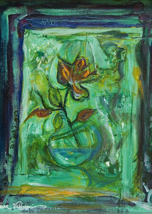 Greeting Card featuring the painting Champagne Flowers by Boz Vakhshori