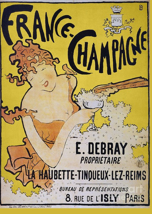 1891 Greeting Card featuring the photograph Champagne Poster, 1891 by Granger