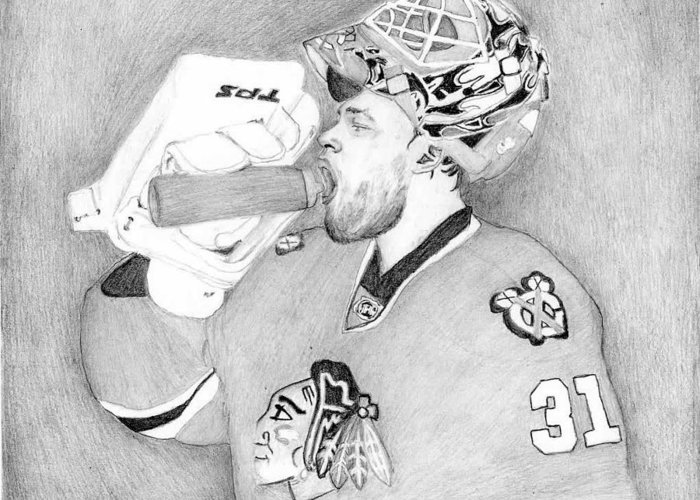 Antti Niemi Greeting Card featuring the drawing Championship Goalie by Kiyana Smith