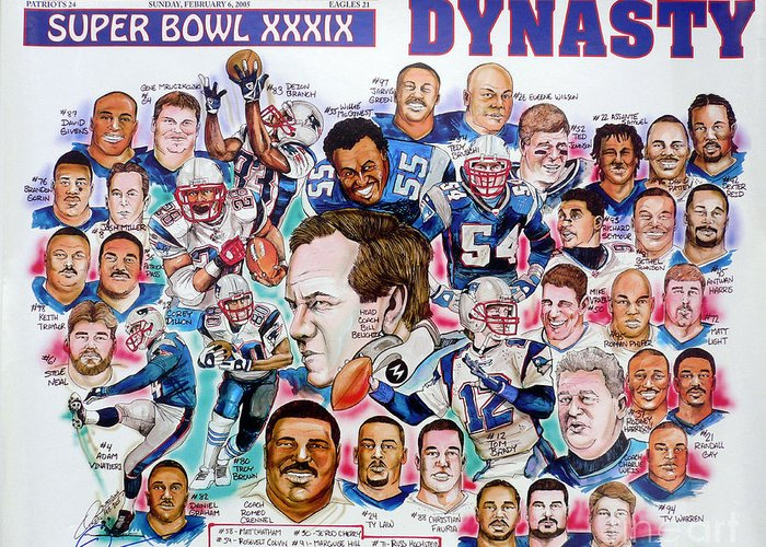 Nfl Greeting Card featuring the drawing Championship Patriots Newspaper Poster by Dave Olsen