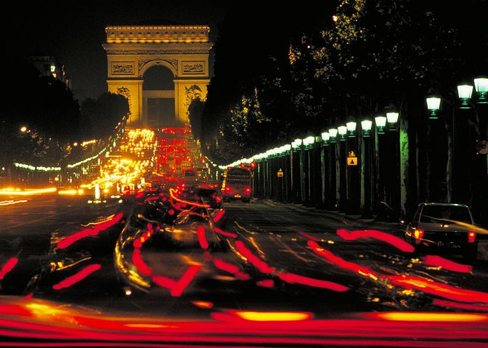France Greeting Card featuring the photograph Champs Elysee In Paris by Carl Purcell