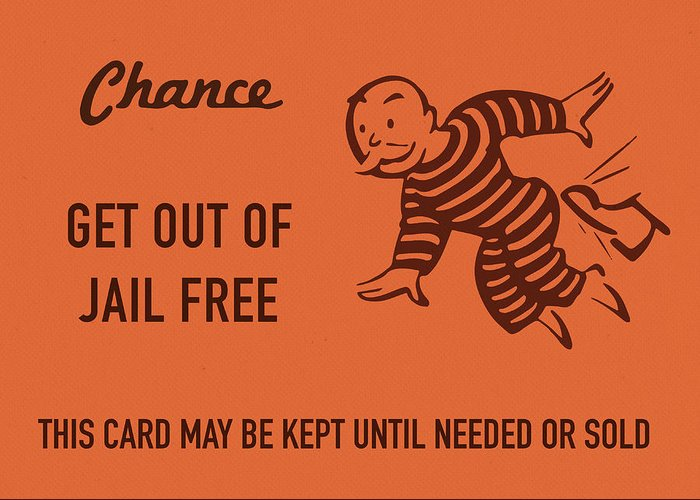 Chance card vintage monopoly get out of jail free greeting card for chance greeting card featuring the mixed media chance card vintage monopoly get out of jail free m4hsunfo