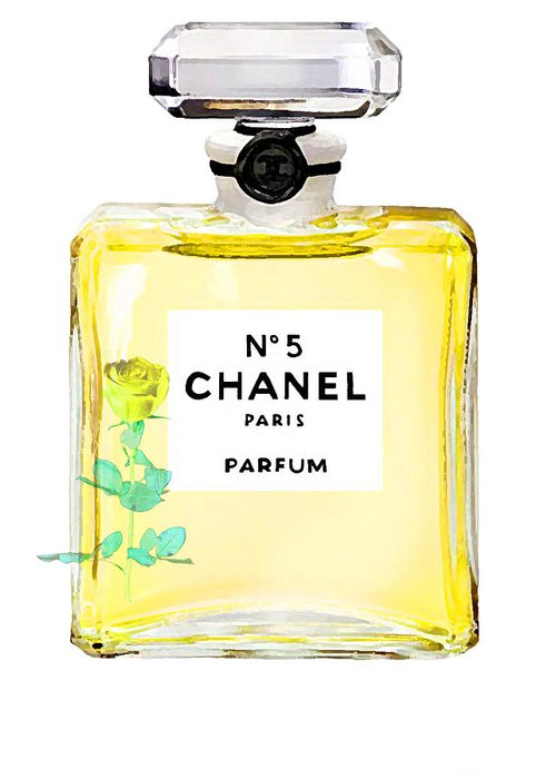 Chanel Perfume Poster Greeting Card featuring the painting Chanel N 5 Perfume Poster by Del Art